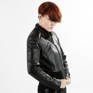 United Face Womens Stud Black Leather Biker Jacket