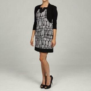 Jessica Howard Womens Petite 2 Piece Black/Ivory Dress