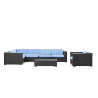 Corona Outdoor Patio Espresso and Light Blue 7 Piece Sectional Sofa