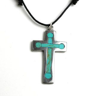 Silver Cross Pendant With Inlaid Turquoise (Mexico)