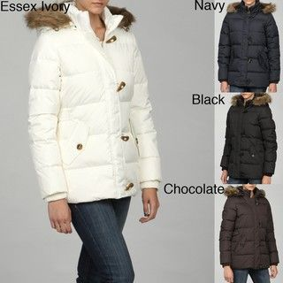 Tommy Hilfiger Womens Down Faux Fur Trimmed Toggle Coat