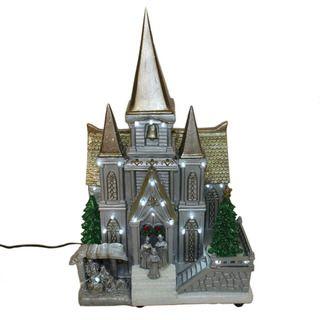 Decorative Tabletop Village LED Resin White Church
