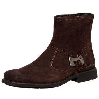 Calvin Klein Jeans Mens Roger Dark Brown Suede Boots