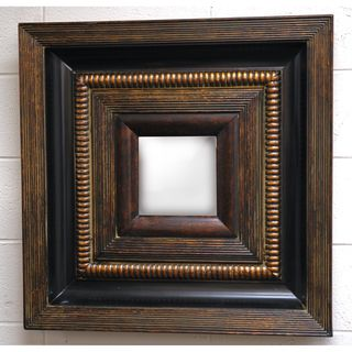 Square Framed Dark Gold Wood Decorative Wall Mirror