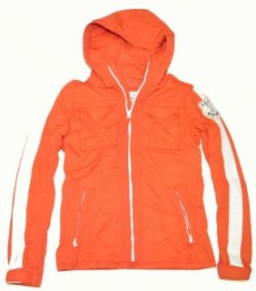 Abercrombie & Fitch Men Hooded Grey Peak Jacket (L, Orange