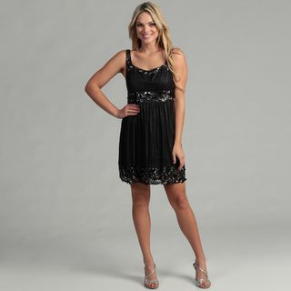 Issue New York Womens Black Beaded Cocktail Dress