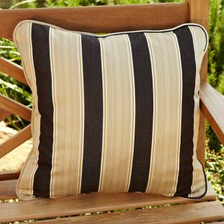 Clara Brown/ Gold Stripe 18 inch Square Outdoor Sunbrella Pillow (Set