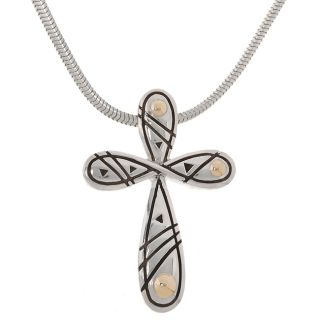 Pacifica Sterling Silver & 18 kt. Gold Cross Pendant