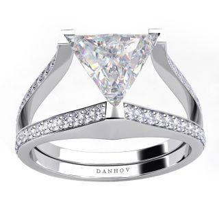 DANHOV 18 KT White Gold CZ Trilliant 0.48ct TDW Diamond Engagement