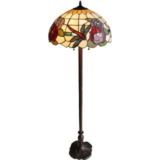 Tiffany style 18.5 inch Dragonfly with Red Rose Floor Lamp