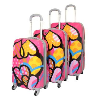 Rockland Vision Pink Heart 3 piece Hardside Spinner Luggage Set