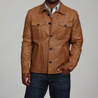 Andrew Marc Mens James Lamb Leather Shirt Jacket