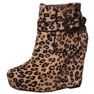 Betsey Johnson Womens Carrin P Leopard Wedge Platform Booties
