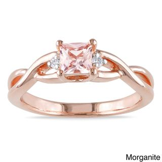 Miadora Rose plated Silver Tourmaline or Morganite and Diamond Ring