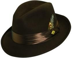 Stacy Adams Mens Crushed Wool Felt Fedora