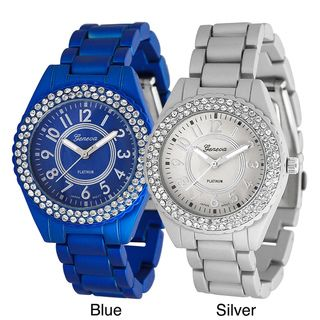 Geneva Platinum Womens Rhinestone Soft coated Link Watch