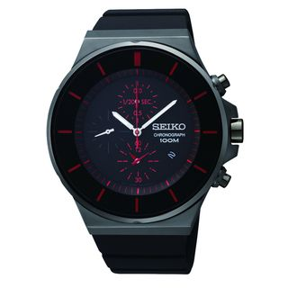Seiko Mens Chronograph Black Ion Red Accent Watch