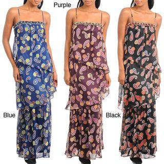 Stanzino Womens Spaghetti Strap Paisley Print Tiered Maxi Dress