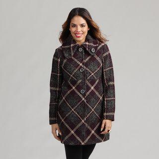 Larry Levine Petite Plaid Wool blend Coat