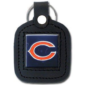 Chicago Bears Square Leather Key Chain   NFL Football Fan