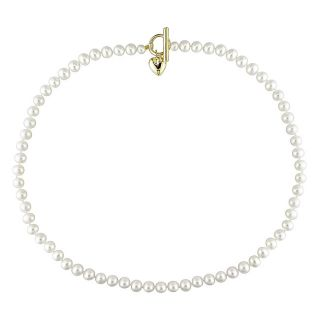 White Freshwater Pearl 18 inch Heart Toggle Necklace (5 6 mm