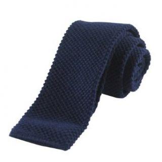 New Retro Boys Solid Navy Blue Knit Tie Necktie Clothing