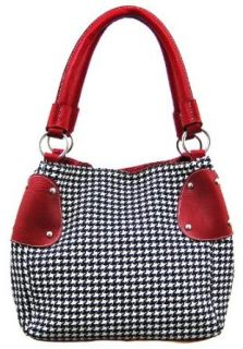 Black / White Houndstooth Bucket Bag Purse Red Trim