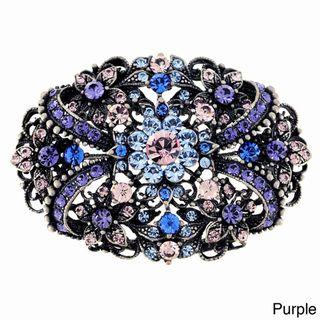Silvertone Multi colored Crystal Flourish Pin/ Pendant
