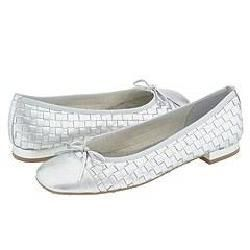 French Sole Star Silver Woven Calf Flats