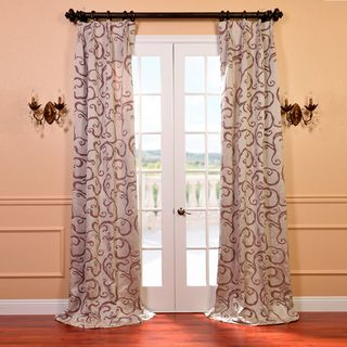Calypso Silver and Plum Faux Silk Jacquard French Pleated Curtains