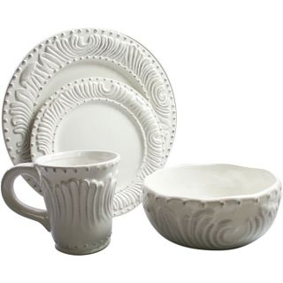 American Atelier Bianca 16 piece Flute and Bead Dinnerware Set