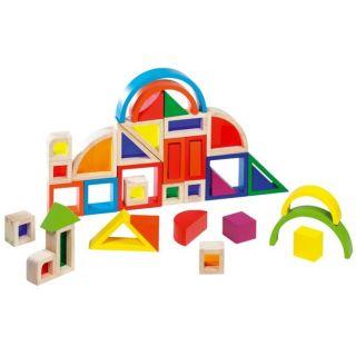 Jeu de construction composé de 37 éléments en bois de forme et de