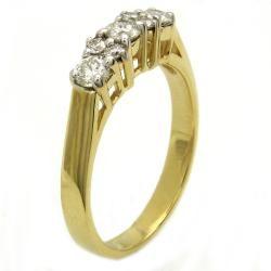 Beverly Hills Charm 14k Yellow Gold .50 ct. TDW 3 Stone Prong Diamond