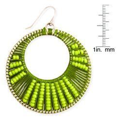 Silvertone Round Sunburst Cutout Thread and Bead Dangle Earrings