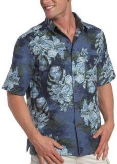 Caribbean Joe Mens Floral Dye Short Sleeve Shirt,Deep