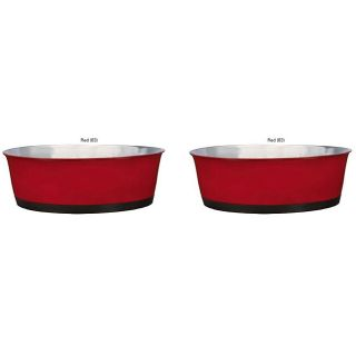 Red Stainless Steel Rubber Base 52 oz Bowls (Set of 2)