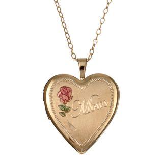 14k Goldfill Engraved Mom 20 mm Heart Locket Necklace