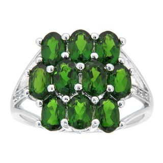 Pearlz Ocean Sterling Silver Chrome Diopside and White Topaz Ring
