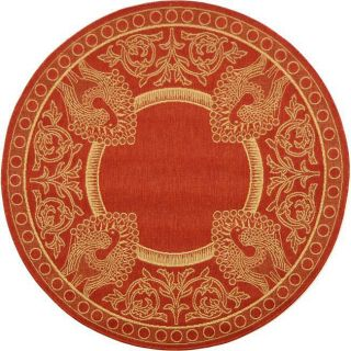 Indoor/ Outdoor Abaco Red/ Natural Rug (53 Round)