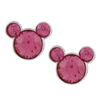 Disneys Mickey Mouse Sterling Silver Pink Crystal Earrings