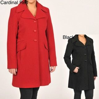 Larry Levine Womens Classic Wool Coat