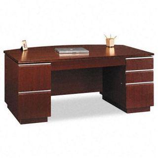 Bush Milano Bow Front Double Pedestal Desk