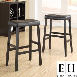 ETHAN HOME Nova Black Saddle Cushioned Seat 29 inch Barstool (set of 2