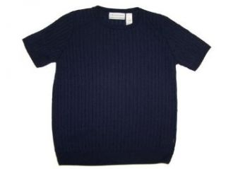 Alfred Dunner Classics Short Sleeve Cable Knit Top Navy S