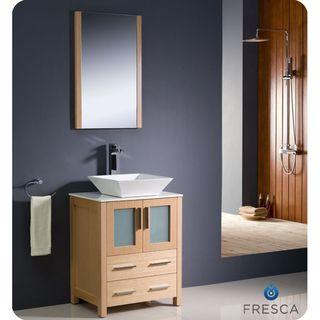 Fresca Torino 24 inch Light Oak Modern Bathroom Vanity with Vessel