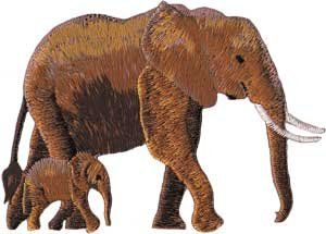 Brown Elephant & Baby Animal Embroidered Iron On Applique
