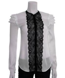 BB Dakota Stacia Black & White Lace Top, Extra Small