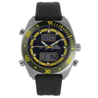 National Geographic Mens Globetrotter Black/ Yellow Watch