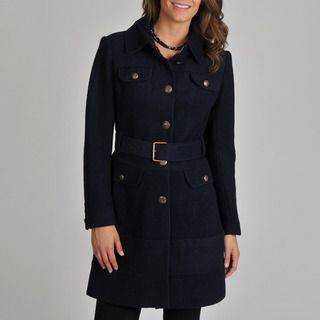 Vince Camuto Womens Navy Wool blend Coat