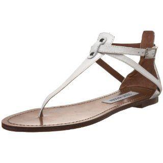 Steve Madden Womens Serrious T Strap Sandal,White Multi,5 MUS Shoes